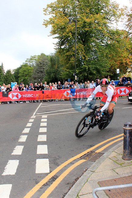 Vasil Kiryienka (BLR) in action during the Men Elite Individual Time Trial of the UCI World Championships 2019 running 54km from Northallerton to Harrogate, England. 25th September 2019.<br /> Picture: Andy Brady | Cyclefile<br /> <br /> All photos usage must carry mandatory copyright credit (© Cyclefile | Andy Brady)
