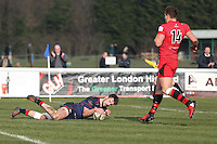 Jamie Stevenson of London Scottish scores his team's first try during the Greene King IPA Championship match between London Scottish Football Club and Jersey at Richmond Athletic Ground, Richmond, United Kingdom on 18 February 2017. Photo by David Horn / PRiME Media Images.