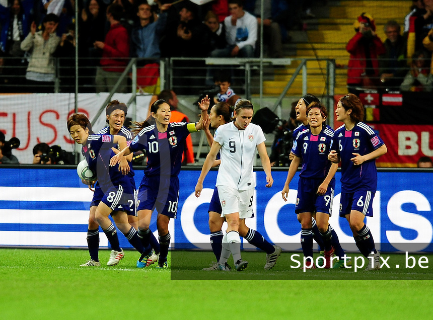 Fifa Women's World Cup Germany 2011 : Japan - USA  at Commerzbank Arena Frankfurt : vreugde bij japan na de 1-1 gelijkmaker.foto DAVID CATRY / Vrouwenteam.be