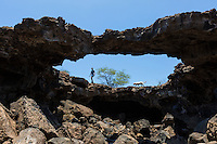A woman and her dog explore a collapsed lava tube on the island of Hawai'i.