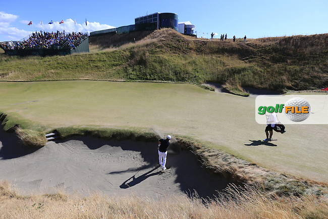 Alexander Levy (FRA) chips backwards from a bunker at the 10th green during Friday's Round 2 of the 2015 U.S. Open 115th National Championship held at Chambers Bay, Seattle, Washington, USA. 6/20/2015.<br /> Picture: Golffile | Eoin Clarke<br /> <br /> <br /> <br /> <br /> All photo usage must carry mandatory copyright credit (&copy; Golffile | Eoin Clarke)