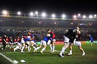 The Bath Rugby team warm up prior to the match. Aviva Premiership match, between Harlequins and Bath Rugby on March 11, 2016 at the Twickenham Stoop in London, England. Photo by: Patrick Khachfe / Onside Images