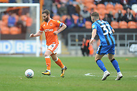 Blackpool's Jimmy Ryan under pressure from Gillingham's Mark Byrne<br /> <br /> Photographer Kevin Barnes/CameraSport<br /> <br /> The EFL Sky Bet League One - Blackpool v Gillingham - Saturday 4th May 2019 - Bloomfield Road - Blackpool<br /> <br /> World Copyright © 2019 CameraSport. All rights reserved. 43 Linden Ave. Countesthorpe. Leicester. England. LE8 5PG - Tel: +44 (0) 116 277 4147 - admin@camerasport.com - www.camerasport.com