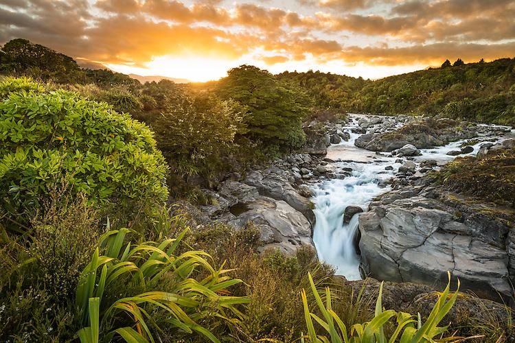 Dawn over Whakapapanui River, Tongariro National Park, New Zealand - stock photo, canvas, fine art print
