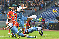 Francesco Acerbi of Lazio , Sergej Milinkovic-Savic of Lazio , Felipe Caicedo of Lazio try to score during the Serie A 2018/2019 football match between SS Lazio and Spal at stadio Olimpico, Roma, November 04, 2018 <br />  Foto Andrea Staccioli / Insidefoto