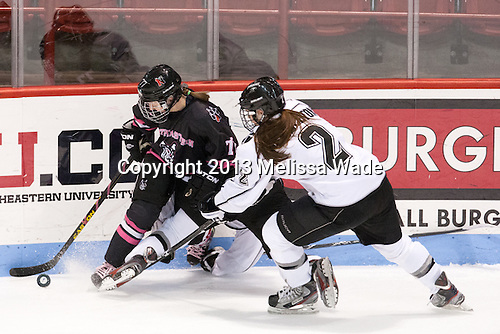 Kendall Coyne (NU - 77), Maggie Pendleton (PC - 2) - The Northeastern University Huskies defeated the visiting Providence College Friars 8-7 on Sunday, January 20, 2013, at Matthews Arena in Boston, Massachusetts.