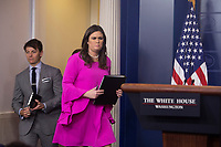 White House Press Secretary Sarah Huckabee Sanders arrives to hold the daily news briefing at the White House in Washington, DC, October 30, 2017. <br /> Credit: Chris Kleponis / CNP /MediaPunch