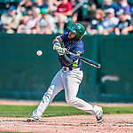 4 September 2017: Vermont Lake Monsters outfielder Logan Farrar at bat leading off the 5th inning during the first game of a double-header against the Tri-City ValleyCats at Centennial Field in Burlington, Vermont. The Lake Monsters split their games, falling 6-5 in the first, then winning the second 7-4, thus clinching the NY Penn League Stedler Division Championship. Mandatory Credit: Ed Wolfstein Photo *** RAW (NEF) Image File Available ***