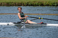 "Henley on Thames, United Kingdom, 24th June 2018, Sunday, ""Henley Women's Regatta"", view, Junior,Women's Single Sculler, Phoebe MUIR, look's for the finishing line, Henley Reach, River Thames, Thames Valley, England, © Peter SPURRIER/24/06/2018"