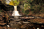Water falls at Ricketts Glen State Park in northeastern PA on a beautiful fall day..