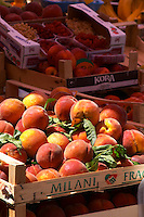Peaches in a tray, pallet. In the fruit and vegetable market in the harbour. Luka Gruz harbour. Dubrovnik, new city. Dalmatian Coast, Croatia, Europe.