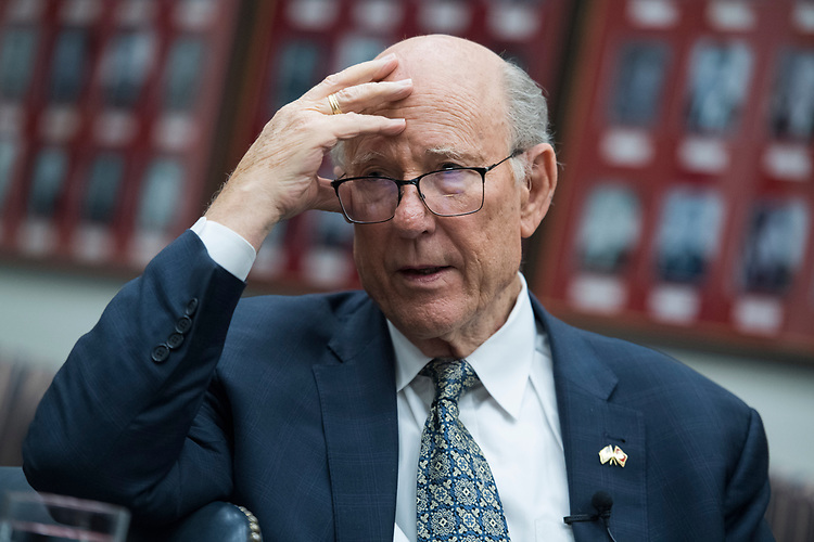 UNITED STATES - JULY 12: Senate Agriculture Committee Chairman Pat Roberts, R-Kan., prepares for a CQ podcast with ranking member Sen. Debbie Stabenow, D-Mich., in Hart Building on July 12, 2018. (Photo By Tom Williams/CQ Roll Call)