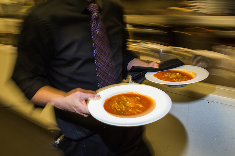 Raleigh, North Carolina - Thursday January 28, 2016 - Two bowls of 18 Seaboard's restaurant week offering tomato soup go out to the dining room at the location in Raleigh.