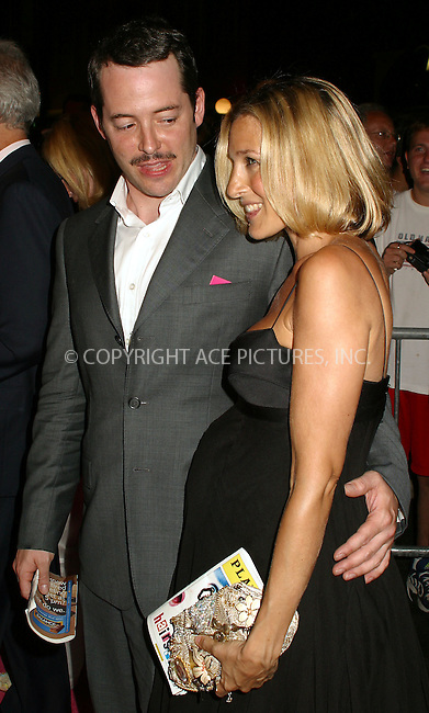 """Opening night for Broadway's newest and hottest show, """"Hairspray"""" at Neil Simon Theatre. New York, August 15, 2002. Pictured are very pregnant Sarah Jessica Parker and husband Matthew Broderick. Please byline: Alecsey Boldeskul/NY Photo Press.   ..*PAY-PER-USE*      ....NY Photo Press:  ..phone (646) 267-6913;   ..e-mail: info@nyphotopress.com"""