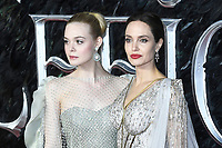 LONDON, ENGLAND - October 09: Elle Fanning and Angelina Jolie attending the European Premiere of 'Maleficent: Mistress of Evil' at BFI IMAX Waterloo on October 09, 2019 in London, England.<br /> CAP/MAR<br /> ©MAR/Capital Pictures /MediaPunch ***NORTH AMERICA ONLY***