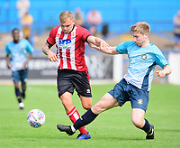 Lincoln City's Harry Anderson vies for possession with Gainsborough Trinity's trialist<br /> <br /> Photographer Chris Vaughan/CameraSport<br /> <br /> Football Pre-Season Friendly (Community Festival of Lincolnshire) - Gainsborough Trinity v Lincoln City - Saturday 6th July 2019 - The Martin & Co Arena - Gainsborough<br /> <br /> World Copyright © 2018 CameraSport. All rights reserved. 43 Linden Ave. Countesthorpe. Leicester. England. LE8 5PG - Tel: +44 (0) 116 277 4147 - admin@camerasport.com - www.camerasport.com