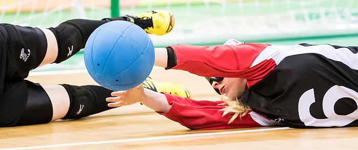 RIO DE JANEIRO - 12/9/2016:  Jillian McSween, of Halifax, NS, makes a save as Canada takes on China in a women's goalball preliminary match at Future Arena during the Rio 2016 Paralympic Games. (Photo by Dave Holland/Canadian Paralympic Committee).