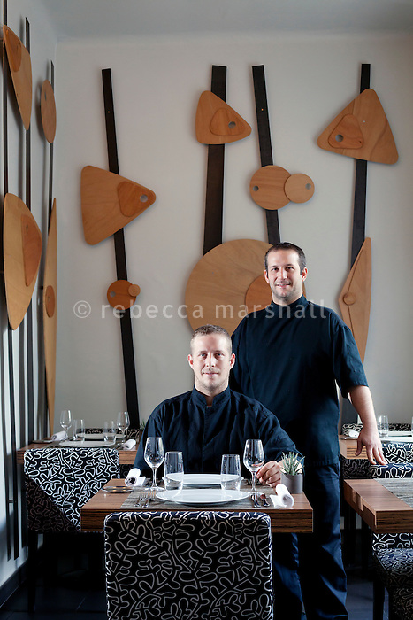 Mickaël (left) and Gaël (right), Tourteaux, chefs at Flaveur restaurant, Rue Gubernatis, Nice, France 30 November 2011. Gaël and Mickaël, brothers, opened the restaurant in 2009 and in 2011 they won a Michelin star.