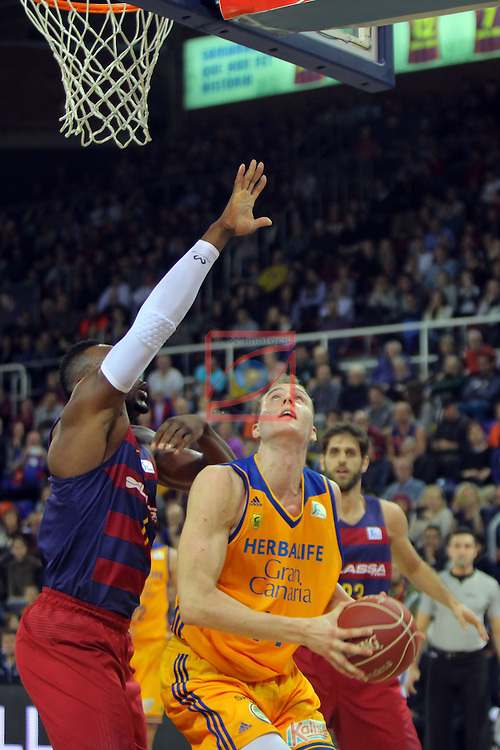League ACB-ENDESA 2016/2017. Game: 11.<br /> FC Barcelona Lassa vs Herbalife Gran Canaria: 79-78.<br /> Joey Dorsey vs Anzejs Pasecnikcs.