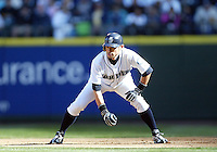04 October 2009: Seattle Mariners right fielder #51 Ichiro Suzuki takes a lead off first base against the Texas Rangers. Seattle won 4-3 over the Texas Rangers at Safeco Field in Seattle, Washington.