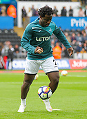 10th September 2017, Liberty Stadium, Swansea, Wales; EPL Premier League football, Swansea versus Newcastle United; Wilfried Bony of Swansea City warms up before the match