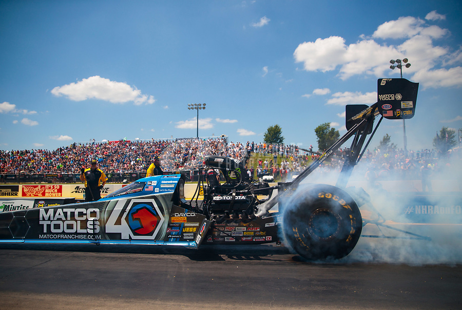 Jun 8, 2019; Topeka, KS, USA; NHRA top fuel driver Antron Brown during qualifying for the Heartland Nationals at Heartland Motorsports Park. Mandatory Credit: Mark J. Rebilas-USA TODAY Sports