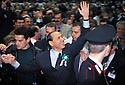 Silvio Berlusconi, Presiden of Forza Italia political party, waves his supporters entering at Forza Italia Convention in Assago, Milan, March 13, 1994. © Carlo Cerchioli