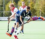 AMSTELVEEN - Matis Papa (Pinoke) met links Tom van Hooijdonk (SCHC) . Hoofdklasse competitie heren. Pinoke-SCHC (0-1) . COPYRIGHT  KOEN SUYK