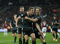 Burnley's Chris Wood celebrates scoring his side's second goal with Ashley Barnes<br /> <br /> Photographer Rob Newell/CameraSport<br /> <br /> The Premier League - West Ham United v Burnley - Saturday 3rd November 2018 - London Stadium - London<br /> <br /> World Copyright &copy; 2018 CameraSport. All rights reserved. 43 Linden Ave. Countesthorpe. Leicester. England. LE8 5PG - Tel: +44 (0) 116 277 4147 - admin@camerasport.com - www.camerasport.com