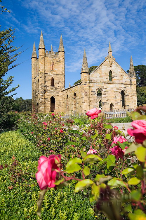Ruins of the Church at the Port Arthur Historic Site.  Constructed in 1836-37 it was never consecrated, due to its usage by a number of different denominations.  Port Arthur, Tasmania, Australia