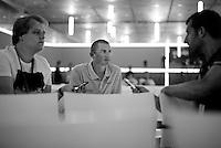 Simon Gerrans (AUS/Orica-GreenEDGE) interviewed at the 2015 pre-Tour de France press conference
