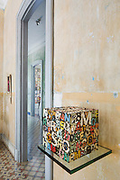 """A metal cube entitled """"Missing Words"""" is just one of a series created by artist Damian Aquiles"""