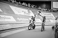 Kenny De Ketele (BEL/SportVlaanderen-Baloise) &amp; Moreno De Pauw (BEL/SportVlaanderen-Baloise) celebrating<br /> <br /> Ghent6 2017