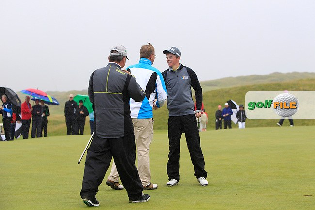 Stuart Grehan (Tullamore) wins on the 15th green the South of Ireland Amateur Open Championship at LaHinch Golf Club on Sunday 26th July 2015.<br /> Picture:  Golffile | Thos Caffrey