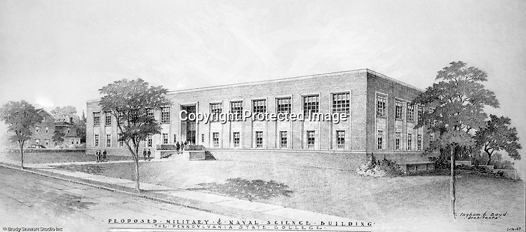 Pittsburgh PA:  View of an Ingham and Boyd Architect's rendering of the Pennsylvania State Marine and Navy Science Building - 1946.