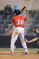 Edgar Cabral (30) of the Lakewood BlueClaws at bat against the Kannapolis Intimidators at Kannapolis Intimidators Stadium on April 6, 2017 in Kannapolis, North Carolina.  The BlueClaws defeated the Intimidators 7-5.  (Brian Westerholt/Four Seam Images)