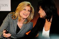 Arianna Huffington fondatrice dell'Huffington Post giornale web e Anne Sinclair.Parigi 23/1/2012 .Presentazione della versione francese del sito Huffington Post.Foto Insidefoto / Anthony Ghnassia / Panoramic