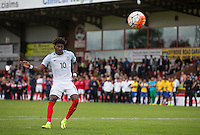 Ainsley Maitland-Niles (Arsenal) of England takes his penalty during a Penalty Shootout after the match during the International match between England U20 and Brazil U20 at the Aggborough Stadium, Kidderminster, England on 4 September 2016. Photo by Andy Rowland / PRiME Media Images.