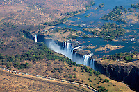 Victoria Falls at low water during the dry season, taken from a helicopter.
