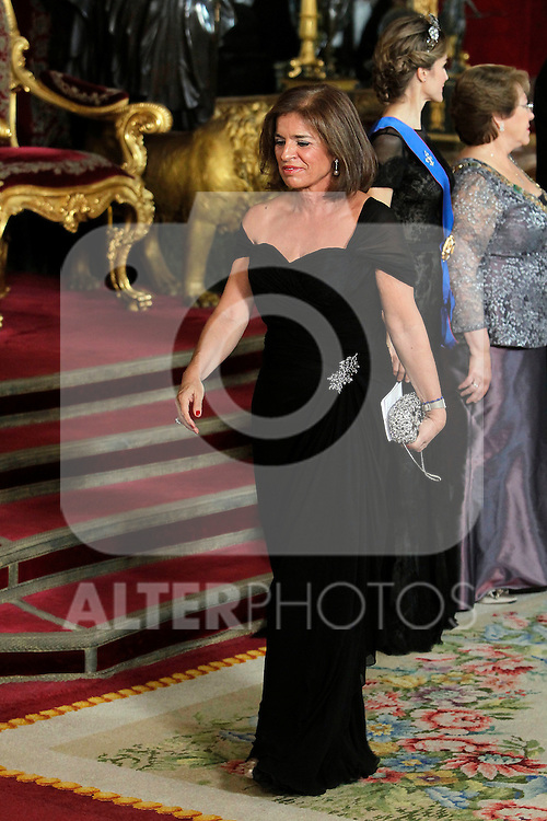 Spanish Royals attend a Gala Dinner in honour of President of Chile Michelle Bachelet at The Royal Palace in Madrid. In the pic: Ana Botella. October 29, 2014. (Jose Luis Cuesta/POOL/ALTERPHOTOS)
