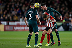 Billy Sharp of Sheffield United tussles with Ciaran Clark of Newcastle United during the Premier League match at Bramall Lane, Sheffield. Picture date: 5th December 2019. Picture credit should read: James Wilson/Sportimage