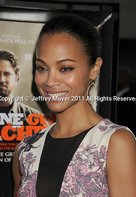 "BEVERLY HILLS, CA - SEPTEMBER 21: Zoe Saldana attends the ""Machine Gun Preacher"" Los Angeles Premiere at the Academy of Television Arts & Sciences on September 21, 2011 in Beverly Hills, California."