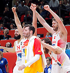 Spain's national basketball team players and gold medalists Felipe Reyes and Pau Gasol celebrate during European championship basketball final match between Spain and Lithuania on September 20, 2015 in Lille, France  (credit image & photo: Pedja Milosavljevic / STARSPORT)