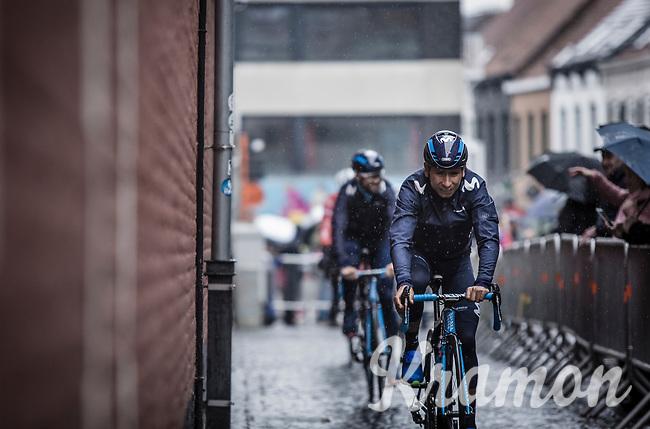 Nairo Quintana (COL/Team Movistar) pre race on his way to sign in. <br /> <br /> 73th Dwars Door Vlaanderen (1.UWT)<br /> 1day race: Roeselare › Waregem BEL (180km)