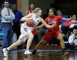 SIOUX FALLS, SD: MARCH 21:  Paige Redmond #00 of Central Missouri drives on Jada Perkins #1 of Union during their game at the 2018 Division II Women's Basketball Championship at the Sanford Pentagon in Sioux Falls, S.D. (Photo by Dick Carlson/Inertia)