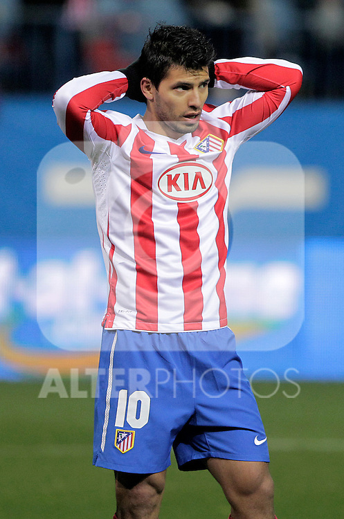 Atletico de Madrid's Kun Aguero during UEFA Europe League match.December,1,2010. (ALTERPHOTOS/Acero)