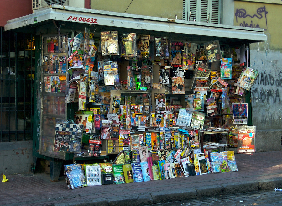 Typical Newstand stop in San Telmo, Buenos Aires, Argentina.