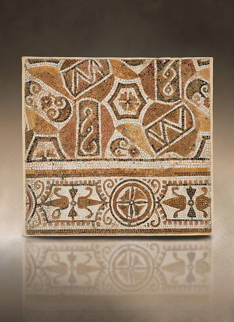 Pictures of a geometric Roman mosaic, from the ancient Roman city of Thysdrus. 3rd century AD. El Djem Archaeological Museum, El Djem, Tunisia. Against an art background