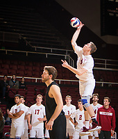STANFORD, CA - January 17, 2019: Eric Beatty at Maples Pavilion. The Stanford Cardinal defeated UC Irvine 27-25, 17-25, 25-22, and 27-25.