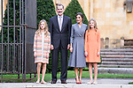 (L to R) Princess of Asturias Leonor, King Felipe VI, Queen Letizia and  Infant Sofia of Spain during the arrival to Oviedo because of the Princess of Asturias Awards 2019 . October 17, 2019.. (ALTERPHOTOS/ Francis Gonzalez)